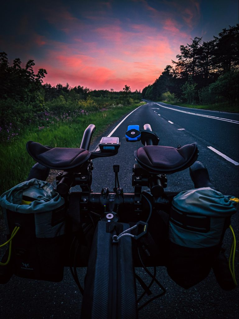 Pink sky at night, Jenny Tough on the All Points North ride